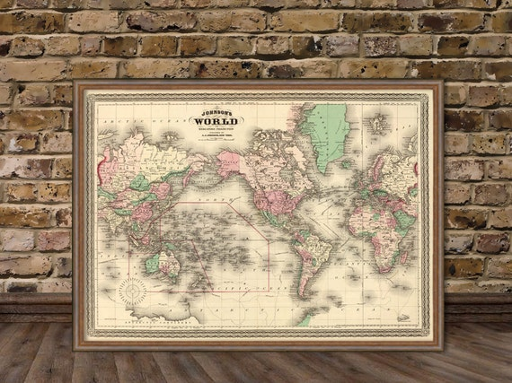 carte de la carte du vintage carte murale du monde monde. Black Bedroom Furniture Sets. Home Design Ideas