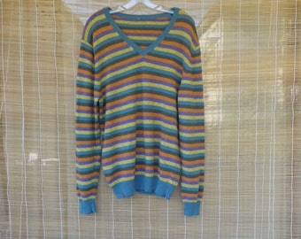 Vintage Man's 1980's Striped Knitted Wool Sweater Size L