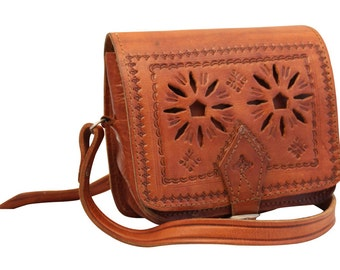 Tooled Leather Crossbody Bag 4