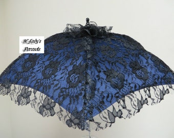 VICTORIAN PARASOL Umbrella in Your Choice of Color for Fabric with Black Lace Scalloped Overlay Bridal Civil War Prom Pageant Second Line