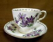 Tuscan Violets Teacup and saucer English porcelain midcentury vintage tea cup set