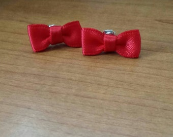 Red Ribbon Bow Earrings