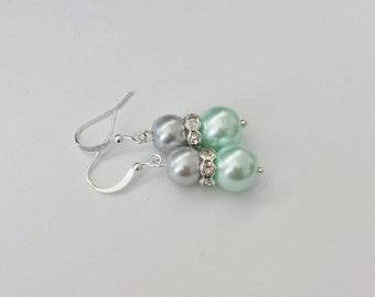 Silver and Mint Green Pearl Rhinestone Earrings