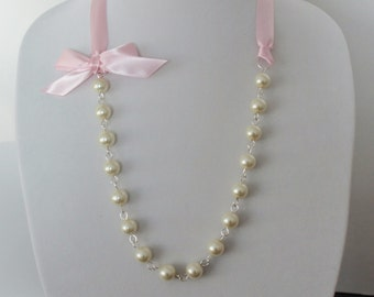 Ivory Pearl and Blush Pink Ribbon Bow Necklace