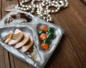 Retro TV Dinner Polymer Clay Charm Pendant For Necklace Or Planner
