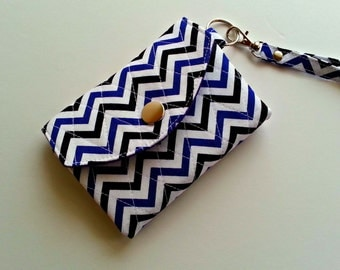Quilted ID Wallet Key Chain in Purple, Black and white Chevron print