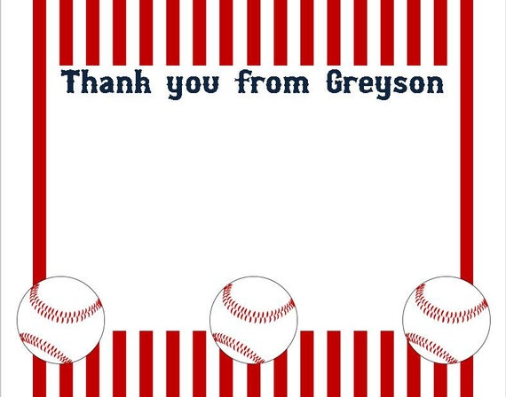Baseball Thank You Card Set