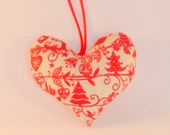 Christmas Scandi Fabric Heart - Red Reindeers, Birds and Hearts, Home Decor, Cottage chic