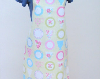 Matt Oilcloth Apron Pretty Teacups and Plates on a Pale Apple Green Background -  Olicloth Apron, Adult Waterproof Apron