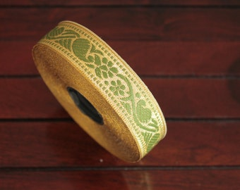 1 yard-Olive Green & Golden Jacquard Trim-Woven Ribbon-Decorative Art Quilts fabric trim-Designer Silk Saree Border Trim-Brocade Fabric Trim