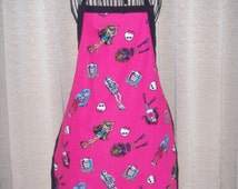 Monster High Adult Apron cool hot pink background with Casta and the Spells