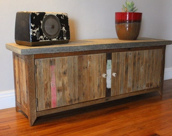 The Santa Monica - Reclaimed Wood Concrete Top Bench Credenza