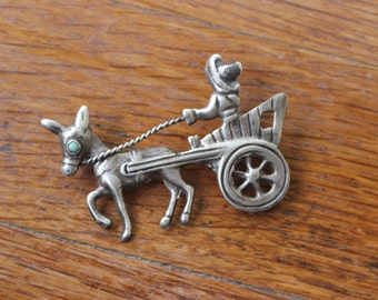 1920's Brooch / Donkey Drawn Cart & Man with Sombrero Pin / Vintage Sterling Silver Mexico Brooch