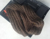 Brown Men or Women Fisherman's Rib Scarf  - Thick Chunky Alpaca Hand Knit Wool Striped Dark Variegated Chocolate (Ready to Ship)