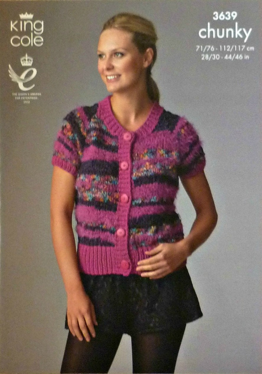 Womens Knitting Pattern K3639 Ladies Short Sleeve Cardigan Knitting Pattern C...