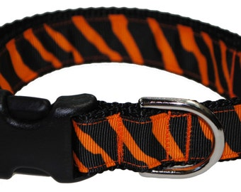 "Zebra Orange and Black 1"" Adjustable Dog Collar"