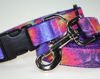 """Tie Dye Collar and Leash Combination - 1"""" Width"""