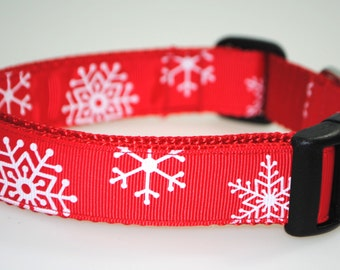 """Snowflakes Red and White 1"""" Adjustable Dog Collar - Limited Availability"""