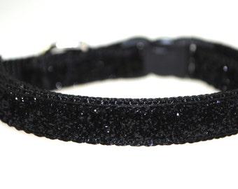 "Metallic Black Glitter - 3/8"" Adjustable Dog Collar"