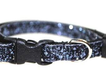 "Smoke Grey Metallic Glitter  - 3/8"" Adjustable Cat Collar"