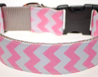 "Pink Glitter Chevrons 1.5"" Adjustable Dog Collar"