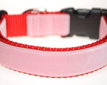 """Pink Velvet on Red 1"""" Wide Adjustable Dog Collar"""