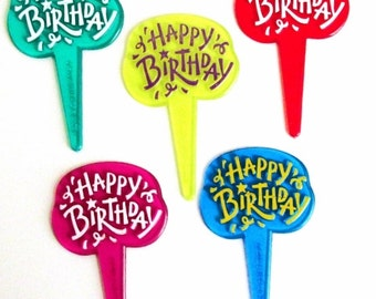 Jewel Happy Birthday Cupcake Picks Cake Toppers Pic Party Supply Decorations (B-5)