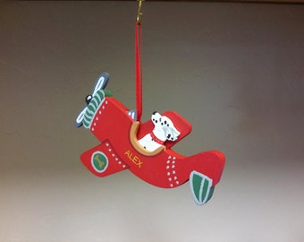 DOGS CHRISTMAS ORNAMENT Alex Dalmatian Dog In Airplane Red Baron Hand Crafted Wood Ornament Made In Usa