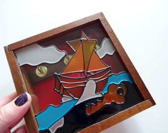 Vintage Stained Glass Wooden Key Holder Box 1970s