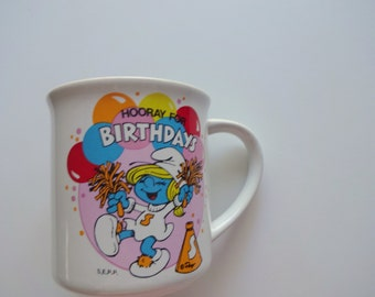 Vintage Smurfs Ceramic Coffee Mug 1982