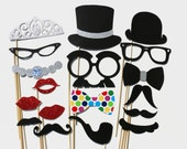Photo Booth Party - 18 Piece Set - Wedding PhotoBooth Props - Glitter Photo Props