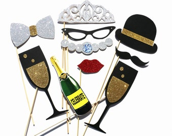 Wedding Photo Booth Props - 10 Piece Wedding Party Favor GLITTER Set - Bridal Shower Photobooth Birthday Photo Props