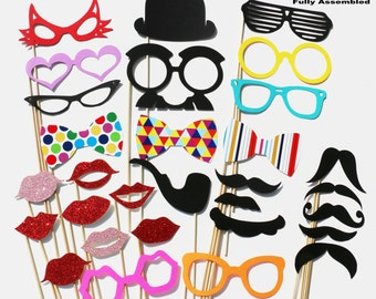 Wedding Favor Photo Booth Props - 30 Piece Set GLITTER - Wedding Party Photobooth Props