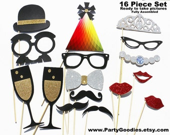 Best Wedding Photo Booth Prop - 16 Piece GLITTER Set  - Mustache Birthday Photobooth Party Props