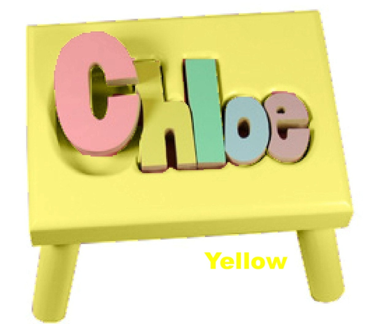 Bright Yellow Name Puzzle Stools