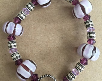 Purple Swarovski Crystal with Bali Silver and Glass Beads Bracelet
