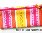 Budget wallet in watercolor stripes with 6 tabbed cash dividers | pink, yellow, orange designer laminated cotton