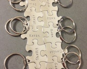 Personalized Bridesmaid Gift, Set of 12 Keychains, Family keychains, puzzle piece keychains, Name Keychains, Wedding Gift, Bridesmaid Gift