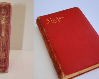 Antique Book Leather Cover Poetry Milton 1893