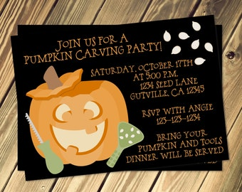 Pumpkin Carving Party Invitation Print Your Own 4x6 or 5x7