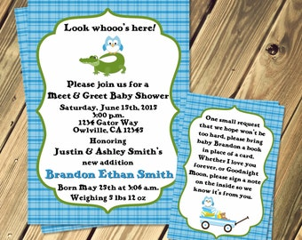 Alligator and Owl Baby Shower Meet and Greet Invitation Print Your Own