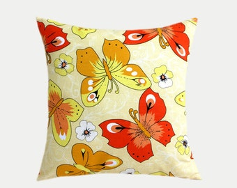 """Decorative Pillow case, Cotton Yellow, White, Red colors with Butterfly Throw pillow case, Designer fabric, fits 18"""" x 18"""" insert,Toss case"""