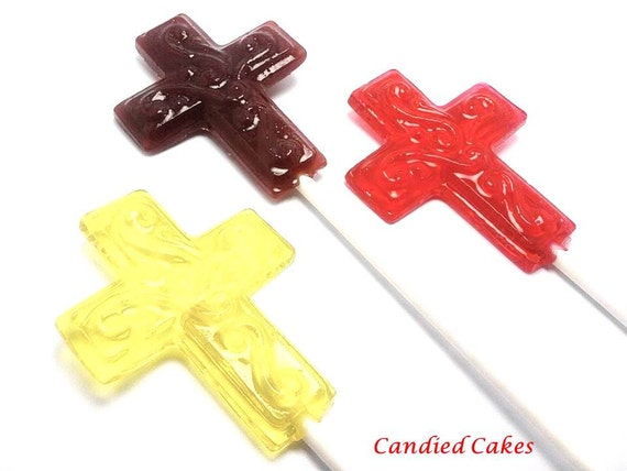 12 CROSS LOLLIPOPS - Pick Any Color and Flavor