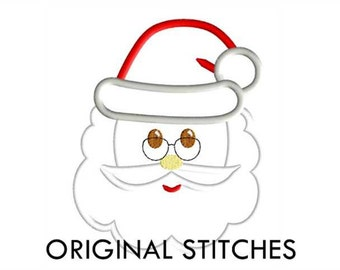 Santa Claus Face Applique and Machine Embroidery Digital Design File 4x4 5x7 8x8 6x10