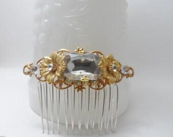 BRIDAL COMB gold hair comb flower comb rhinestone hair comb filigree hair comb bridal accessories wedding filigree comb hair accessories