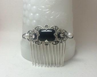 BLACK hair Comb Black rhinestone comb Sterling Silver OX hair comb Filigree Flower vintage inspired octagon Black Wedding comb Bridal comb