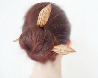Zebra wood hair stick japanese festival kanzashi woodland boho hair pin shawl  pin cosplay barrette