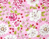 One  Queen/King  Duvet Cover   and Two Euro Shams  - Floral - Green/Red/Pink