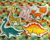 Nursery animal glossy stickers, handcut. Pick any 4