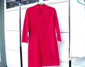 1960s Dublin dress red wool hot pink threads Carina Fashioned by Woolcraft of Dublin M